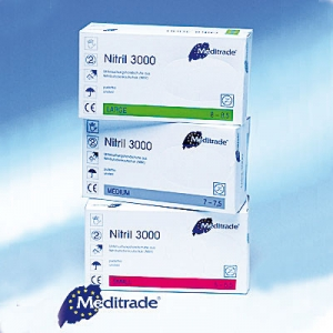 Nitril Handschuhe Nitril 3000 (100 Stück) puderfrei, weiß, sehr gute Passform und hoher Tragekomfort