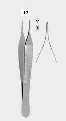 Chirurgische Pinzette Micro-Adson fein, 12,0 oder 15,0 cm, 1 x 2 Zähne