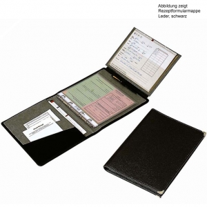 Rezeptformularmappe echt Leder mit Ringbuchmechanik, schwarz, bordeaux oder braun