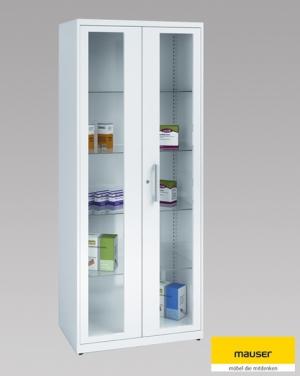 Mauser Medikamentenschrank, 2 Flügeltüren mit Glasfenster, Stahlblech, Breite: 800 mm