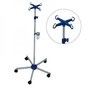 Infusionsständer Edelstahl, Kunststoff Fußkreuz blau,  komplett mit Abtropfglas und Halter