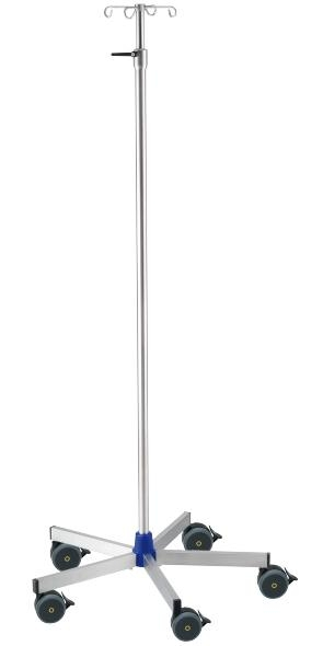 Infusionsständer Urologie, Edelstahl, komplett mit Edelstahl-Flaschenkreuz 5 kg pro Arm belastbar, fahrbar