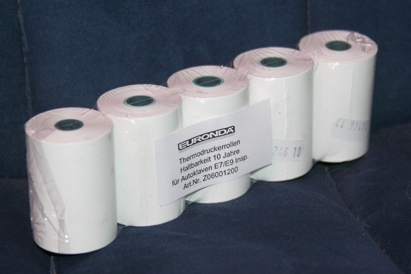 Druckerpapier f�r Sterilisator Drucker Euronda E9 / E7 (5 Rollen) Einbaudrucker graues Geh�use Z06001200