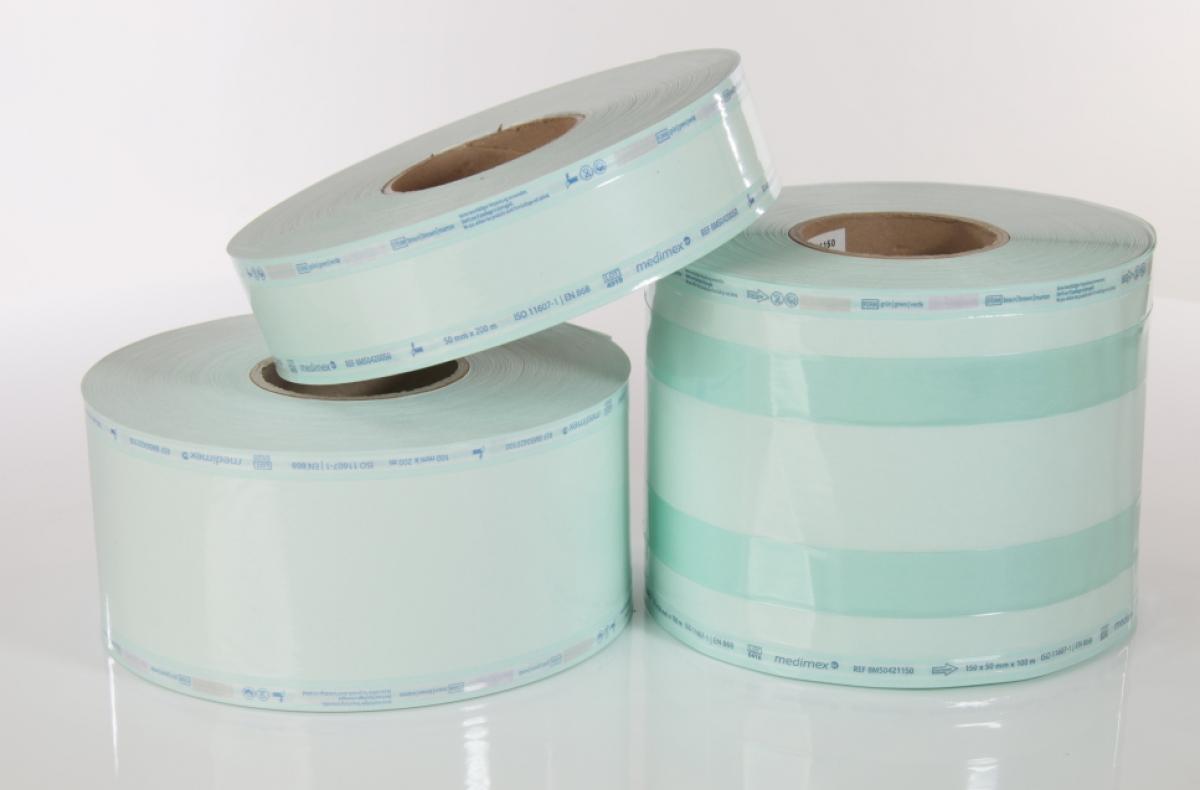 Medimex Sterilisationsfolie flach ohne Seitenfalte, Rolle mit 200 mtr., für Dampfsterilisatoren, versch. Breiten