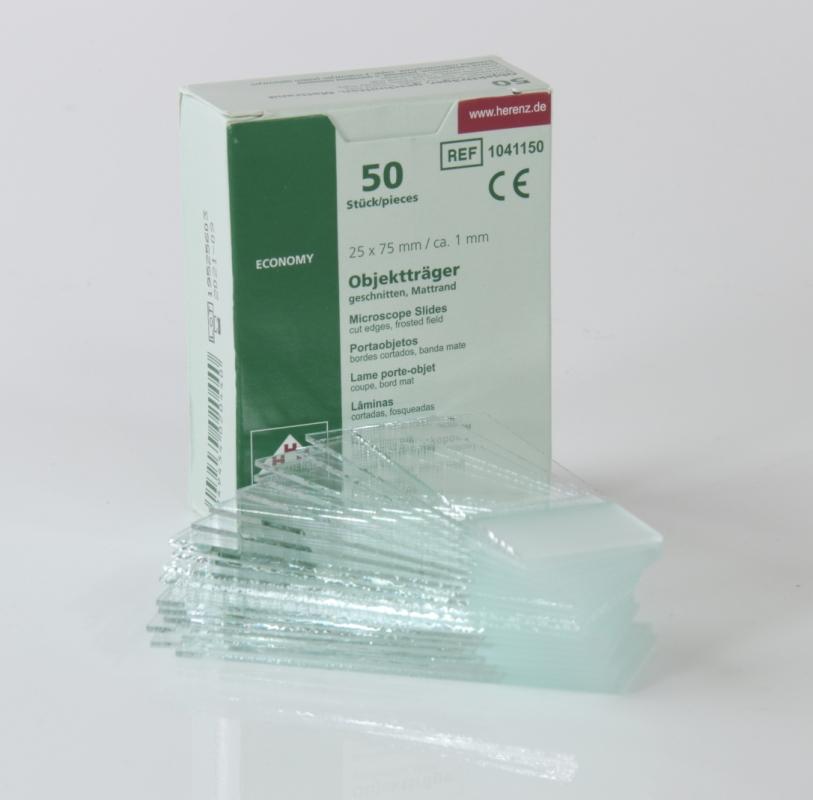 Herenz Objektträger für die Mikroskopie mit oder ohne Mattrand, 76 x 26 mm (50 Stück)
