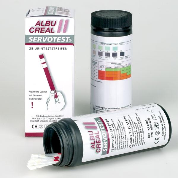 Servoprax Urinteststreifen Albucreal II Servotest 25 Testtstreifen Mikroalbumin mit Kreatinin K46200