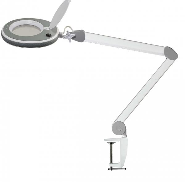 Traderia GmbH Lumeno LED-Kosmetik-Lupenleuchte 3 oder 5 Dioptrien in Weiß / Grau mit Tischklemme, Modell 8213 / 8215