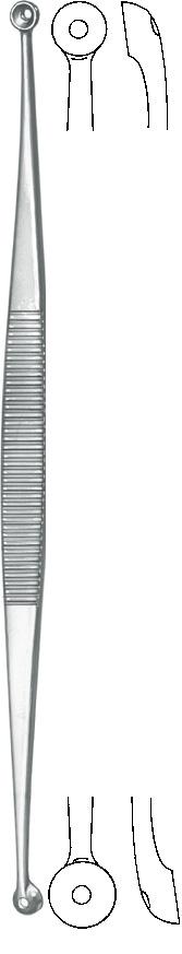 Zepf Instrumente Komedonenquetscher nach Unna, beidseitige runde Löffel mit Loch, 14 cm 74-1105-14