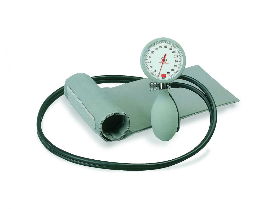 Bosch und Sohn Blutdruckmesser BOSO KII, mit Klettenmanschette, 2 Schlauch Modell, graue Manschette 049-0-111