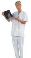 Berufs-Kasack Basel weiß, 100 % Baumwolle (TB21) für Gastronomie und Medizin, Damen u. Herrengrößen