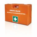 Erste Hilfe-Verbandkoffer, Schulen und Kindergarten, DIN13157 +Zusatzausstattung, mit Wandhalterung