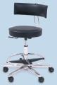 OP Drehhocker mit Rückenlehne und Fußring, leitfähiges, schwarzes Kunstleder, 54 - 73 cm höhenverstellbar, fahrbar
