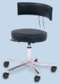 OP Drehhocker mit Rückenlehne, leitfähiges, schwarzes Kunstleder, 46 - 58 cm höhenverstellbar, fahrbar