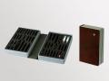 Ampullarium bruchsichere Schaumstofflagerung, Kunststoffschalen Skailan bezogen schwarz, braun, bordeaux